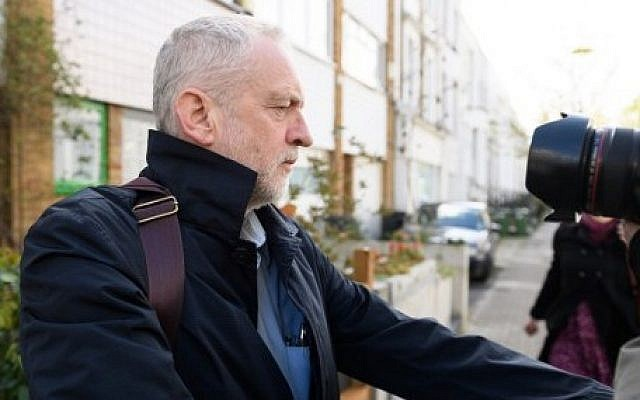 Britain's Labour Party leader Jeremy Corbyn is pictured as he leaves his home in London on April 29, 2016. (AFP/Leon Neal)