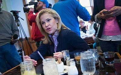 Heidi Cruz, wife of Republican presidential candidate Sen. Ted Cruz (R-Texas), speaks to guests during a campaign stop at The Creamery restaurant on March 31, 2016 in De Pere, Wisconsin. (Scott Olson/Getty Images/AFP)