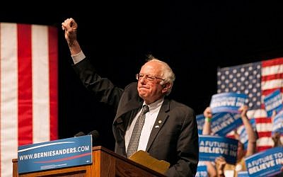 Democratic presidential candidate Sen. Bernie Sanders speaks during a rally on April 5, 2016 in Laramie, Wyoming. (Theo Stroomer/Getty Images/AFP)