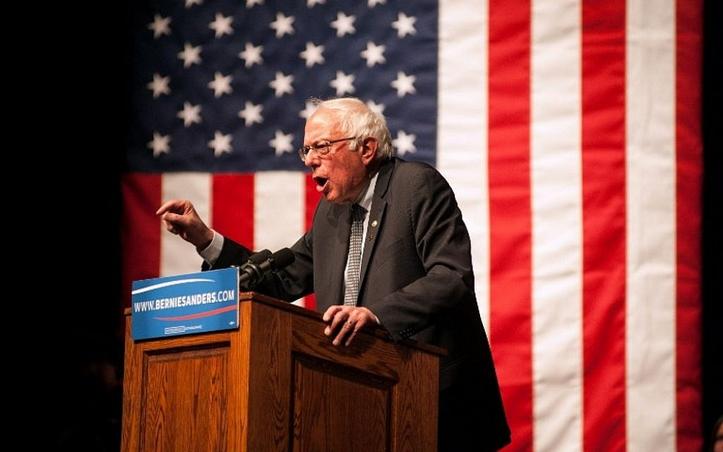Democratic presidential candidate Sen. Bernie Sanders speaks during a rally on April 5, 2016 in Laramie, Wyoming (Theo Stroomer/Getty Images/AFP)