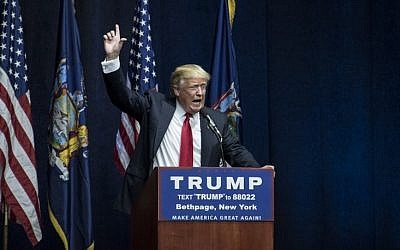 Republican presidential candidate Donald Trump speaks at a campaign rally on April 6, 2016 in Bethpage, New York, ahead of the state's April 15 primary. (Andrew Renneisen/Getty Images/AFP)