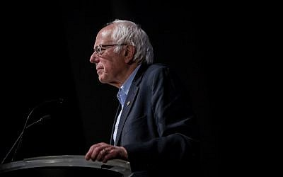 Democratic presidential candidate Sen. Bernie Sanders (I-Vermont) attends a campaign event at the LaGuardia Performing Arts Center on April 9, 2016 in the Queens borough of New York City. (Eric Thayer/Getty Images/AFP)