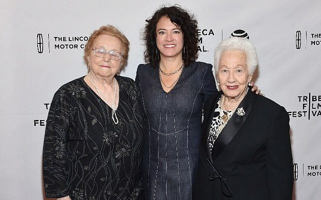 """Elly Gross, left, Director Ferne Pearlstein, center, and Renee Firestone attend the """"The Last Laugh"""" Premiere during the 2016 Tribeca Film Festival at SVA Theatre 1 in New York City, April 18, 2016. (Ben Gabbe/Getty Images for Tribeca Film Festival/AFP)"""
