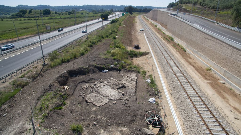 Roman-era glass kilns unearthed alongside newly laid train tracks in northern Israel in 2015. (Assaf Peretz, courtesy of Israel Antiquities Authority)