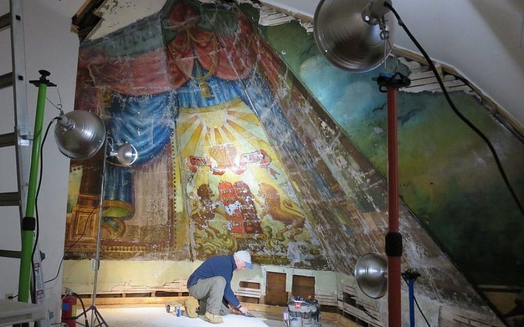 Temporary housing protected the mural during its restoration at Burlington, Vermont's old Chai Adam building before its transfer to the current Ohavi Zedek Synagogue in August 2015. (Courtesy)