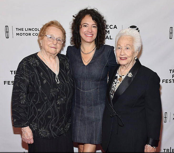 Director Ferne Pearlstein with holocaust survivors Elly Gross (left) and Renee Firestone (right) at the Tribeca Film Festival opening of 'The Last Laugh' (Facebook)