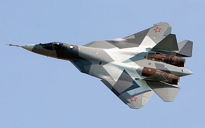 File. The Russian Sukhoi T-50 stealth fighter. (Alex Beltyukov/Wikimedia/CC BY-SA 3.0)