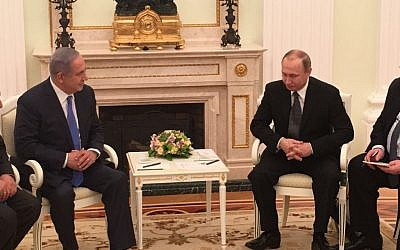Prime Minister Benjamin Netanyahu meets with Russian President Vladimir Putin in Moscow on April 21, 2016 (Courtesy)