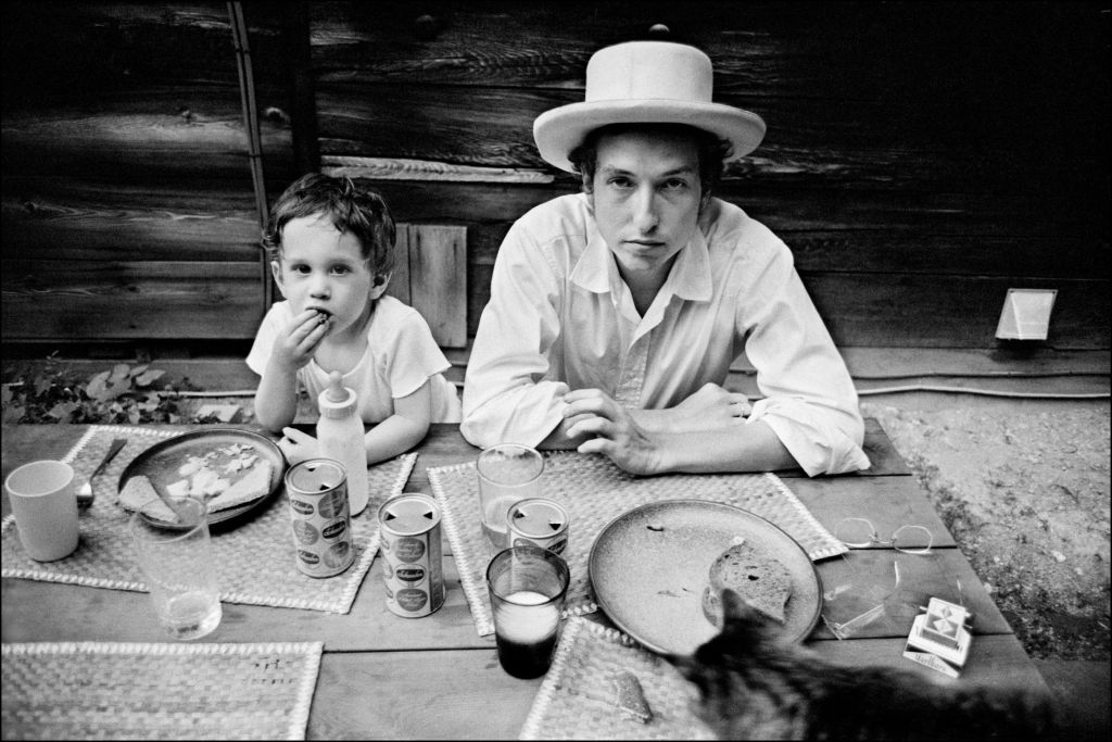 Bob Dylan with his son, Jesse, in Woodstock, New York, 1968. (Elliott Landy/Press License, Landy-The Museum of the Jewish People at Beit Hatfutsot/via JTA)