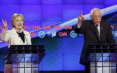 Democratic presidential candidates Hillary  Clinton (left) and Sen. Bernie Sanders (right) during the CNN Democratic Presidential Primary Debate at the Brooklyn Navy Yard in New York on April 14, 2016 (AP/Seth Wenig)
