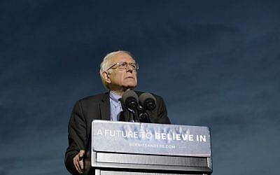 Democratic presidential candidate Sen. Bernie Sanders, I-Vt., pauses while speaking during a campaign rally at St. Mary's Park, Thursday, March 31, 2016, in the Bronx borough of New York. (Julie Jacobson/AP)