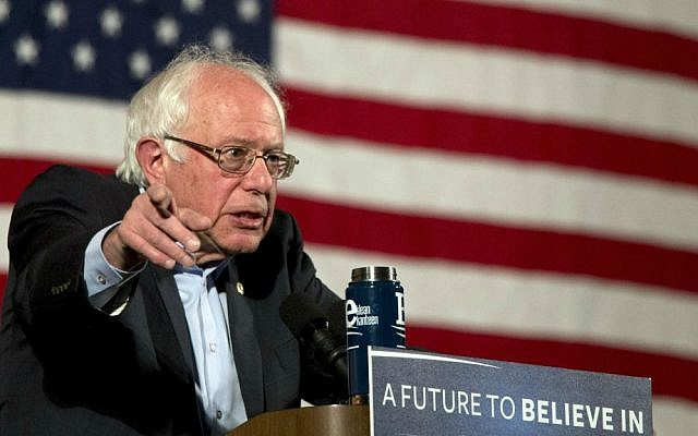 Democratic presidential candidate Sen. Bernie Sanders, I-Vermont, speaks during a campaign event, Saturday, April 9, 2016, in the Washington Heights neighborhood of New York. (AP Photo/Mary Altaffer)