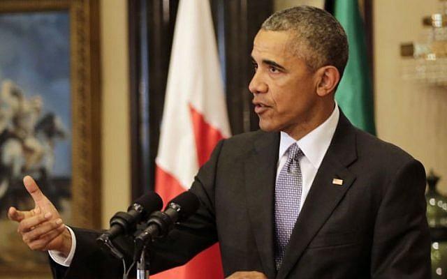 US President Barack Obama gestures during a press conference in Riyadh, Saudi Arabia, April 21, 2016. (AP/Hasan Jamali)