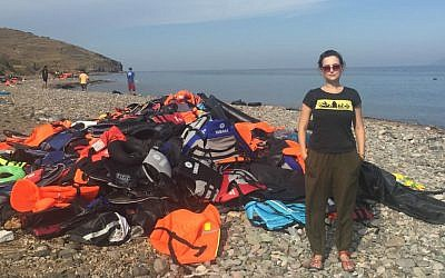 Milana Vayntrub on the beach in Lesbos, where she aided refugees arriving on shore. (Courtesy of Vayntrub/Can't Do Nothing)