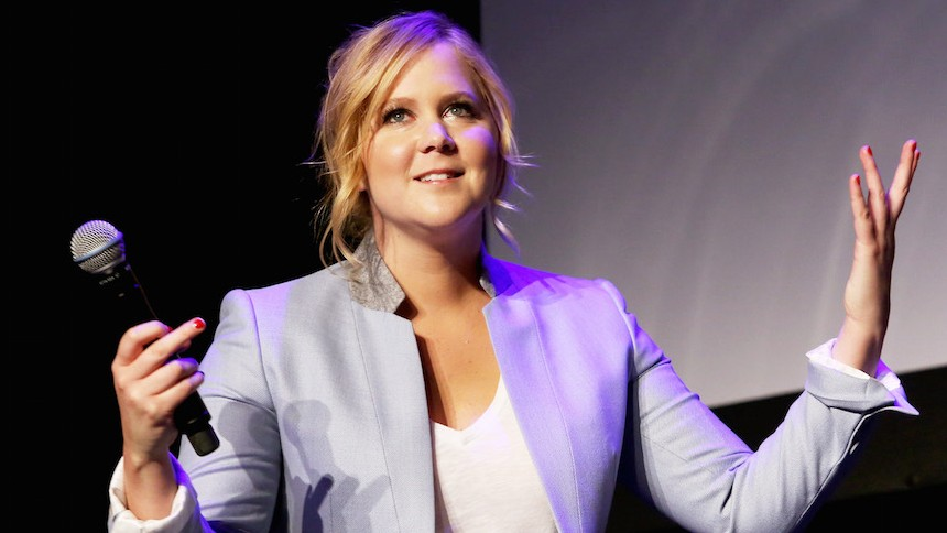 b0f95ba50e Amy Schumer speaking about her film  Trainwreck  at the 2015 Tribeca Film  Festival in