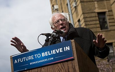 Democratic presidential candidate Sen. Bernie Sanders (D-VT) holds a rally outside his childhood home in Flatbush, April 8, 2016. (Eric Thayer/Getty Images)