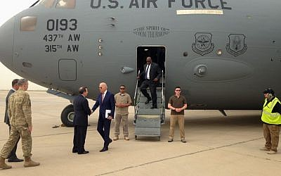 US Vice President Joe Biden is greeted by US Ambassador Stuart Jones after stepping off a C-17 military transport plane upon his arrival in Baghdad, Iraq, April 28, 2016. (AP/Josh Lederman)