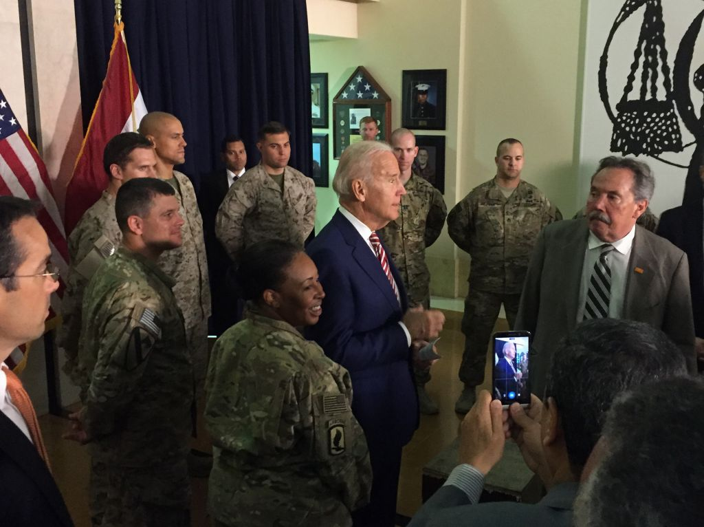 Vice President Joe Biden meets with U.S. diplomatic and military personnel serving in Iraq, Thursday, April 28, 2016, at the U.S. Embassy in Baghdad. (AP Photo/Josh Lederman)