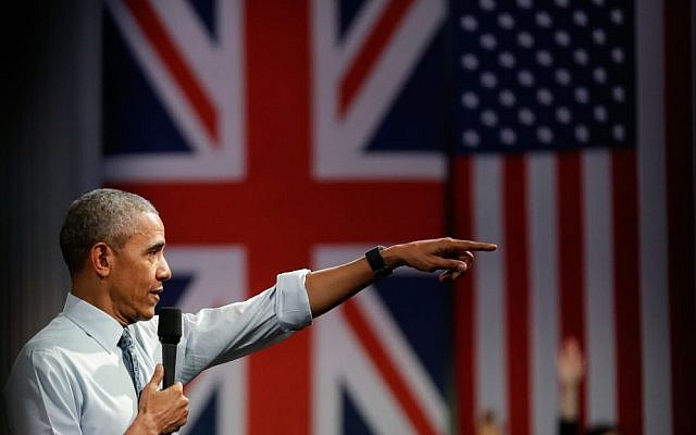US President Barack Obama takes a question as he speaks to a town hall meeting at Lindley Hall, the Royal Horticultural Society, in London, Saturday, April 23, 2016 (AP Photo/Matt Dunham)