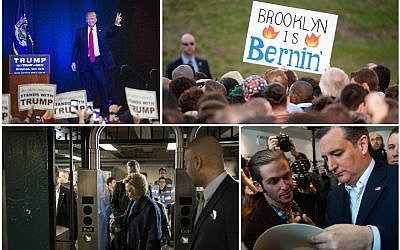 Campaigning in New York, clockwise from left: Donald Trump greeting the crowd in Bethpage, Long Island, April 6, 2016 (Washington Post via Getty Images); a sign at a Bernie Sanders event in Brooklyn, March 31, 2016 (D Dipasupil/WireImage/Getty Images); Ted Cruz signing an autograph in the Bronx, April 6, 2016 (Bryan Thomas/Getty Images); Hillary Clinton swiping a MetroCard at a Bronx subway, April 7, 2016 (Andrew Renneisen/Getty Images).