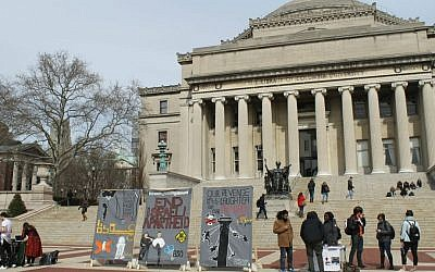 Anti-Israel students at Columbia University erected a mock 'apartheid wall' in front of the iconic Low Library steps during Israel Apartheid Week, March 3, 2016. (Uriel Heilman/JTA)
