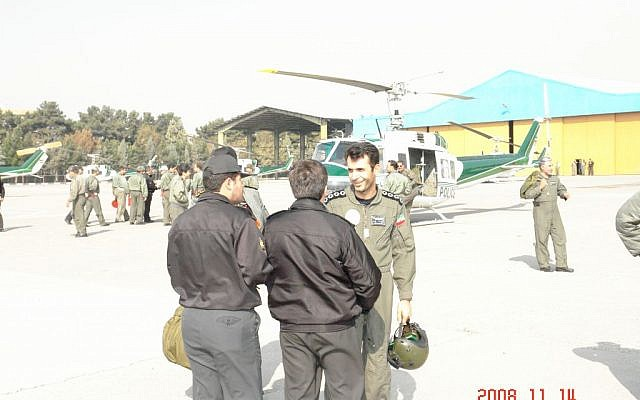 An undated photo of Major Ahmad-Reza Khosravi (right), a former pilot in the helicopter unit of the Iranian Security Services (Courtesy)