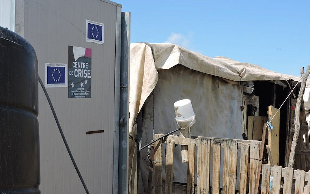 A building funded by the European Union in the West Bank. (Ben Sales/JTA)