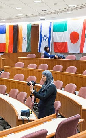 During an April 3, 2016 conference at Harvard University, a participant takes a break between sessions (Elan Kawesch/The Times of Israel)