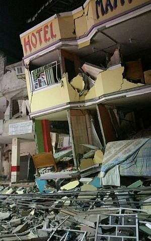 An hotel barely stands after an earthquake in the town of Manta, Ecuador, April 16, 2016. (AP/Patricio Ramos)