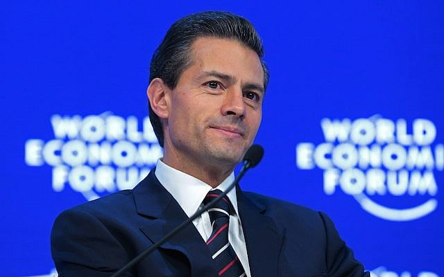 Enrique Pena Nieto, Mexico's president, speaking during a panel session at the World Economic Forum in Davos, Switzerland, Jan. 22, 2016. (JTA/Jason Alden/Bloomberg)