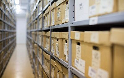 Documents stored at the Israeli State Archives in Jerusalem, September 3, 2012. (Yonatan Sindel/Flash90)