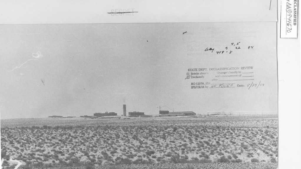 Archive photo from the 1960s of the nuclear reactor compound near Dimona, in southern Israel. (Reproduced from www.nsarchive.org with the permission of the National Security Archive)
