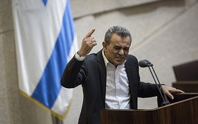 Joint (Arab) List MK Jamal Zahalka speaks during a plenum session in the assembly hall of the Israeli parliament, February 8, 2016. (Hadas Parush/Flash90)