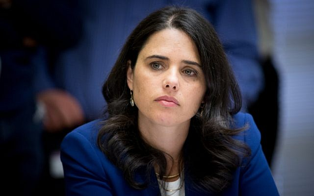 Justice Minister Ayelet Shaked attends the weekly Jewish Home party meeting at the Knesset on March 28, 2016. (Yonatan Sindel/Flash90)