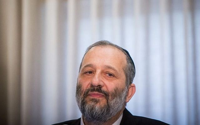 File: Minister of Interior Affairs Aryeh Deri gives a statement to the media during a conference at the Ramada hotel in Jerusalem, on March 30, 2016. (Yonatan Sindel/Flash90)