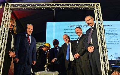 Prime minister Benjamin Netanyahu (second from left) and other officials attend a cornerstone ceremony for a new national library in Jerusalem on Tuesday, April 05, 2016  (Kobi Gideon / GPO)