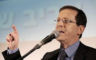 Opposition leader MK Isaac Herzog (Zionist Union) on April 12, 2016 (Tomer Neuberg/Flash90)