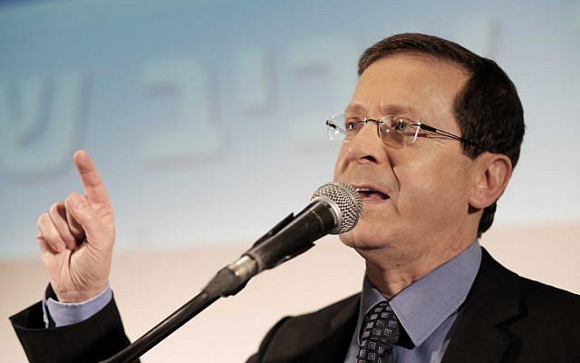 Opposition leader Isaac Herzog on April 12, 2016 (Tomer Neuberg/Flash90)