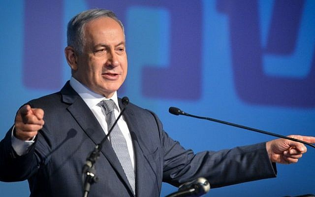 Prime Minister Benjamin Netanyahu at an event for local authorities, in Tel Aviv, on April 14, 2016. (Flash90)