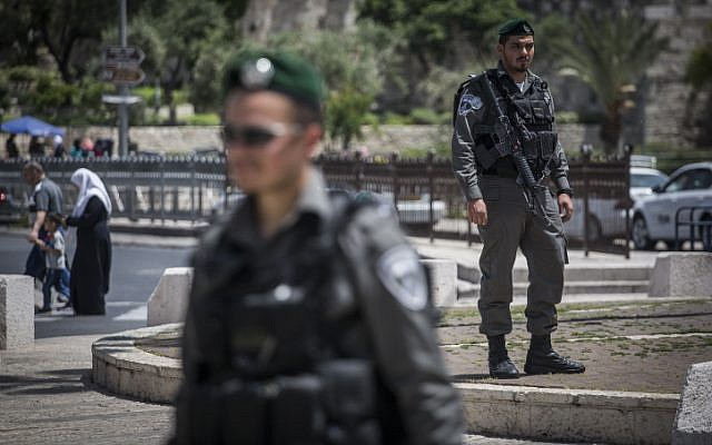 Border Police stand guard at the Damascus Gate in Jerusalem's Old City, on April 24, 2016. (Hadas Parush/Flash90)