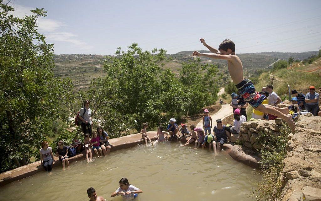 Israelis swim in a natural spring in the outskirts of Jerusalem during Passover on Sunday, April 24, 2016 (Yonatan Sindel/Flash90)
