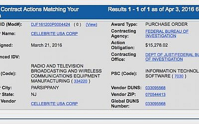 Screenshot of the information on the contract between the FBI and Cellebrite