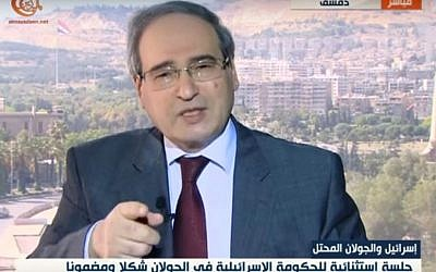 Syrian Deputy Foreign Minister Faisal Mekdad speaks to al-Mayadeen on April 17, 2016 (screenshot)