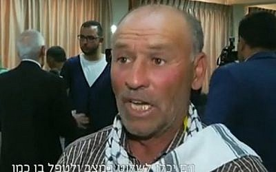 Screenshot of Fathi al-Sharif, the uncle of Abdel Fattah al-Sharif who was shot in the head by an IDF soldier while laying immobile on the ground after carrying out a stabbing attack against Israeli forces in Herbon (Courtesy: screenshot from Channel Two)
