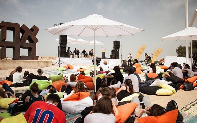 Young people listening to speakers at a 30 Under 30 Summit event at the Israel Museum in Jerusalem, April 6, 2015. (Twitter via JTA)