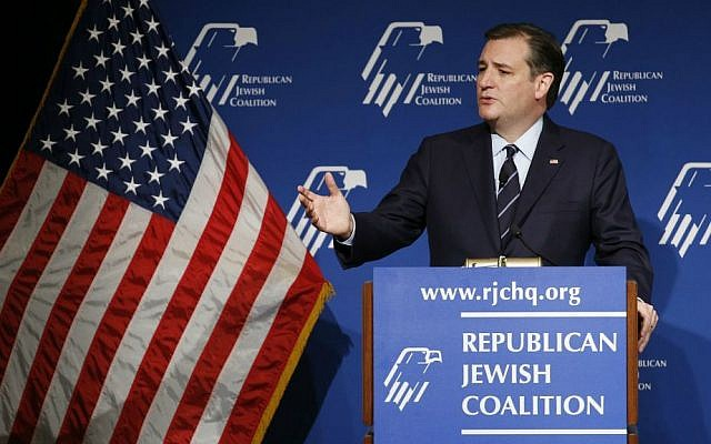 Republican presidential candidate Sen. Ted Cruz, R-Texas, speaks at the Republican Jewish Coalition spring leadership meeting, Saturday, April 9, 2016, in Las Vegas. (AP Photo/John Locher)