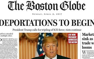 This image shows a portion of a satirical front page of The Boston Globe published on the newspaper's website on Saturday, April 9, 2016. (The Boston Globe via AP)