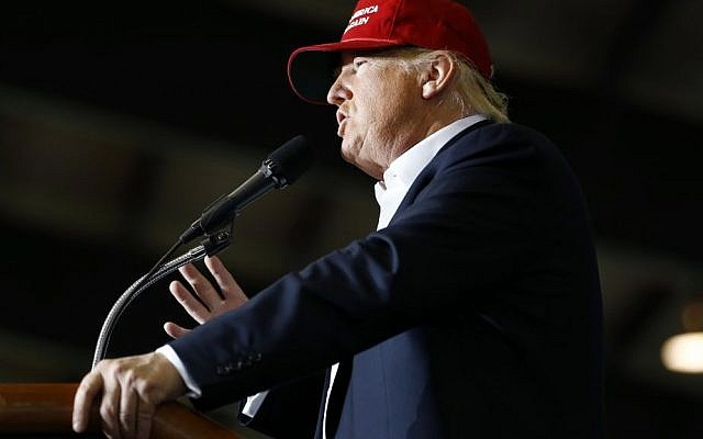 Republican presidential candidate Donald Trump speaks during a rally, April 22, 2016, at the Delaware State Fairgrounds in Harrington, Delaware. (Julio Cortez/AP)
