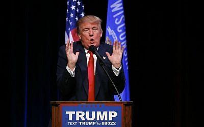 Republican presidential candidate Donald Trump speaks during a campaign event, Saturday, April 2, 2016, in Racine, Wisconsin. (AP Photo/Paul Sancya)