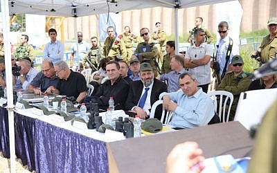 Ministers in the security cabinet tour the West Bank on April 6, 2016 (Courtesy)